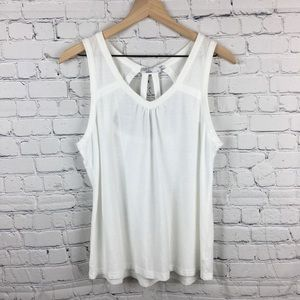 prAna Kornelie White Cut Out Back Tank Large